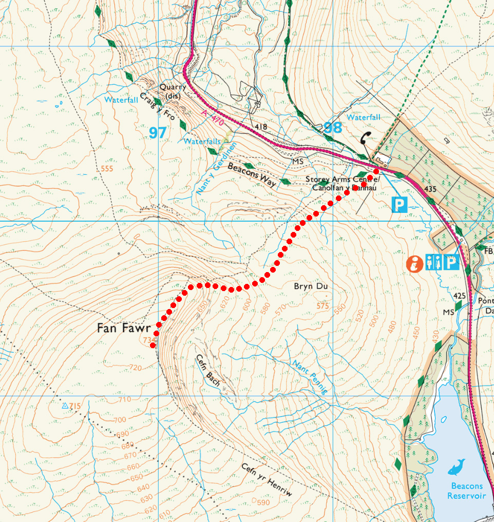 Fan Fawr route plan