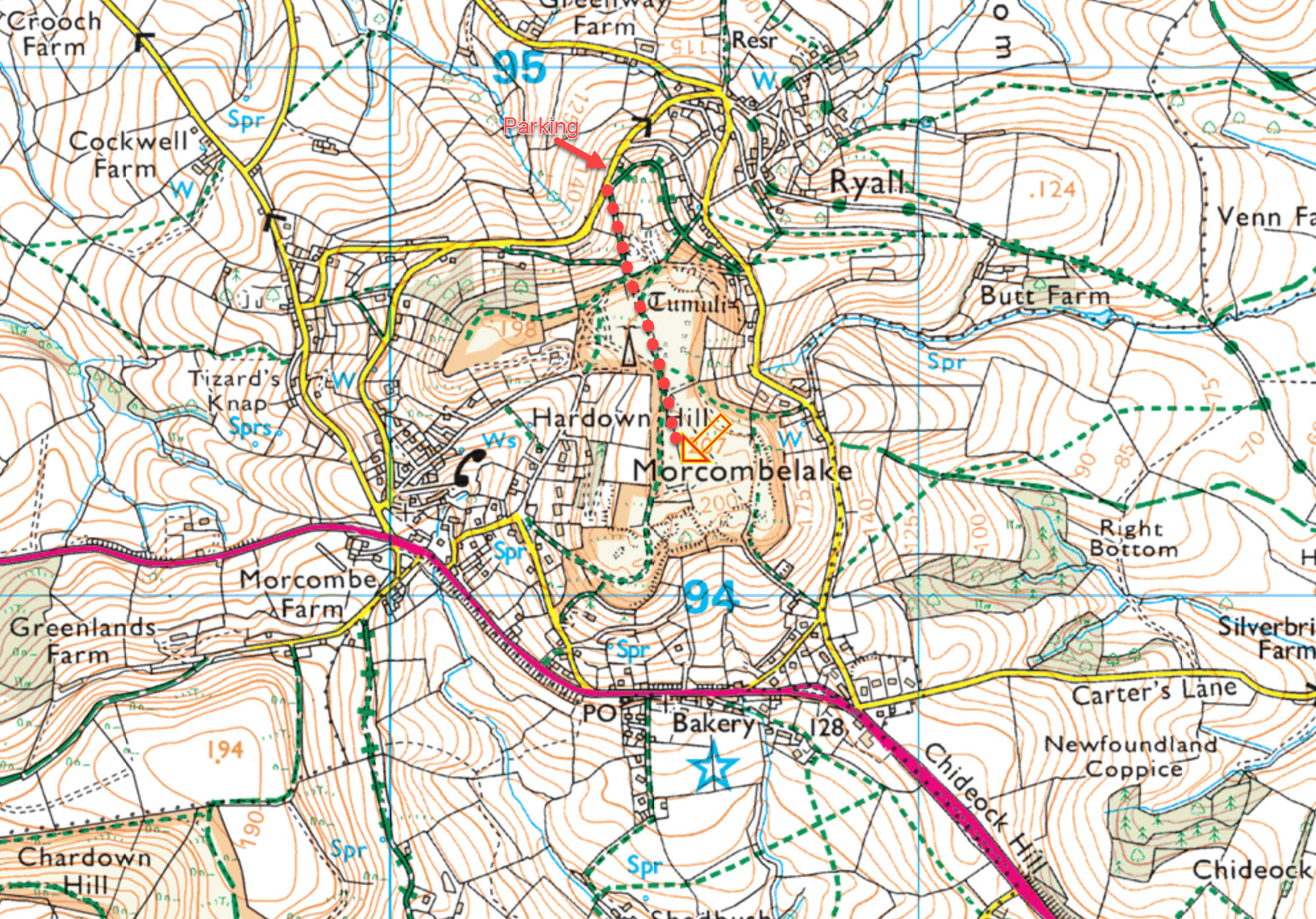 Hardown Hill map