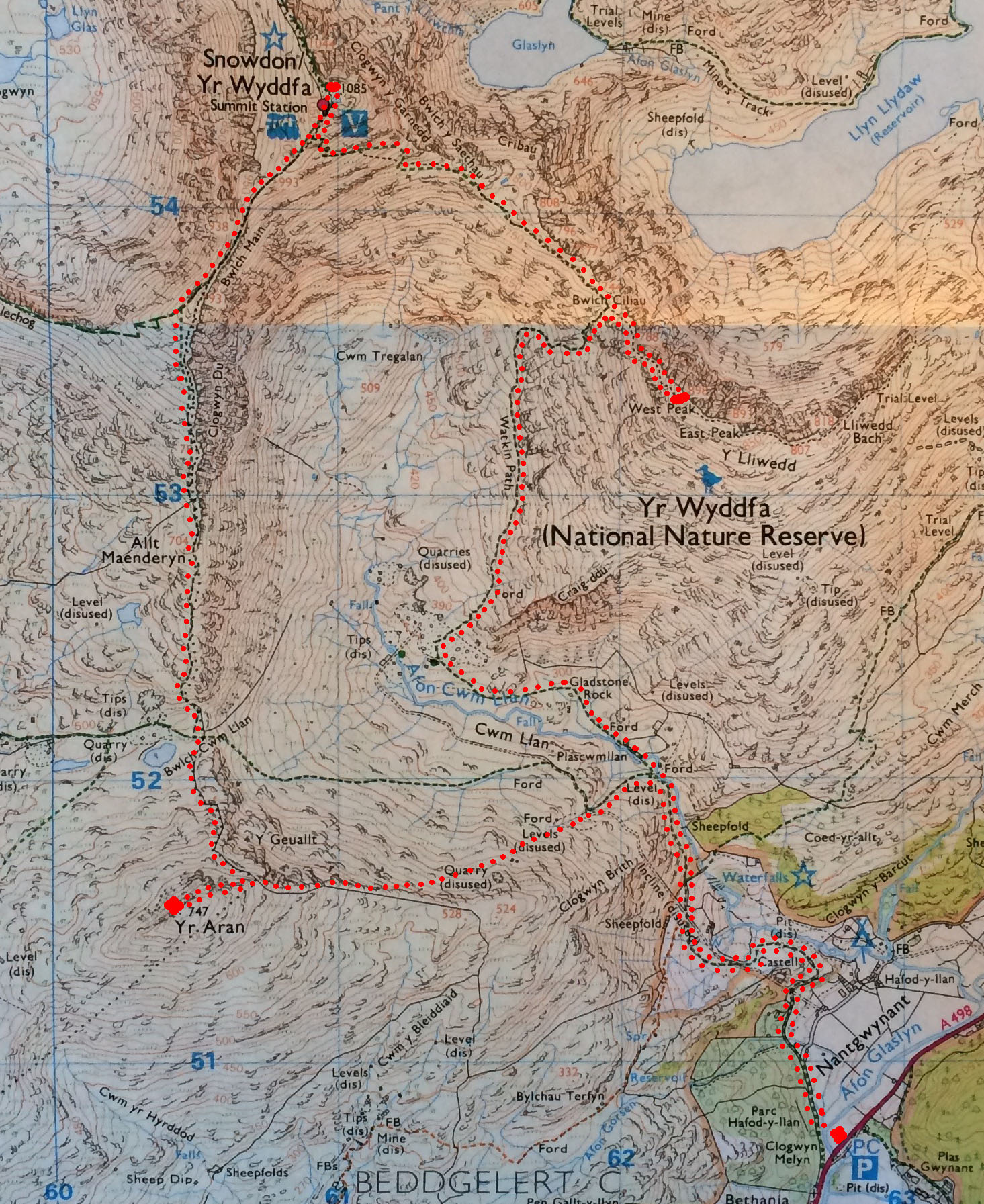 Map of three peaks route