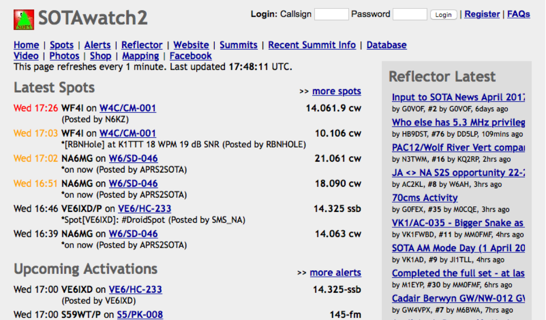 sotawatch.org screenshot