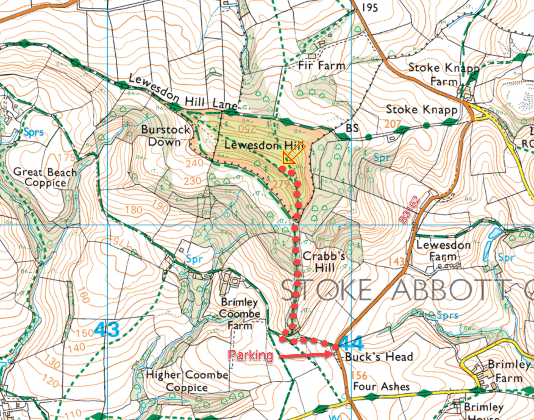 Lewesdon Hill map