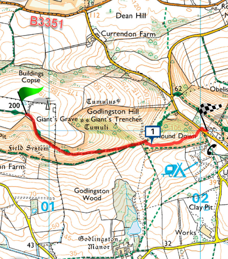 Nine Barrow Down OS Map