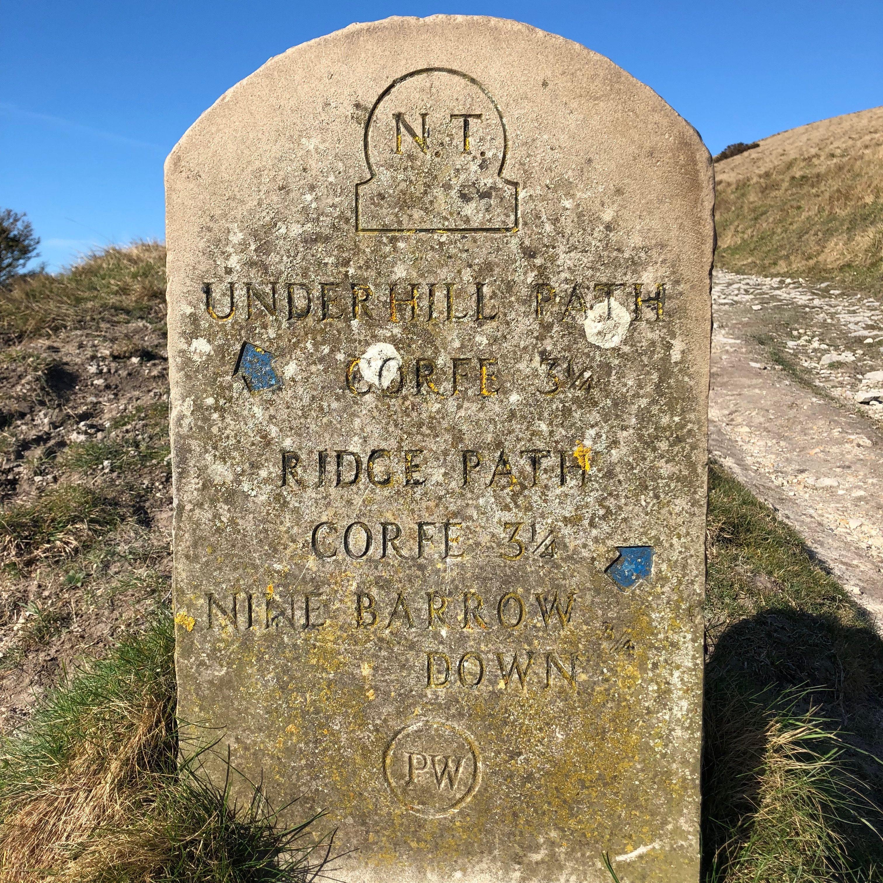 Nine Barrow Down sign post